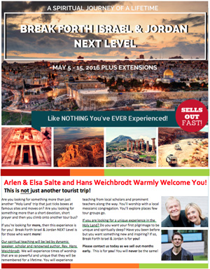 Break Forth Israel & Jordan: NEXT Level 2016 Brochure