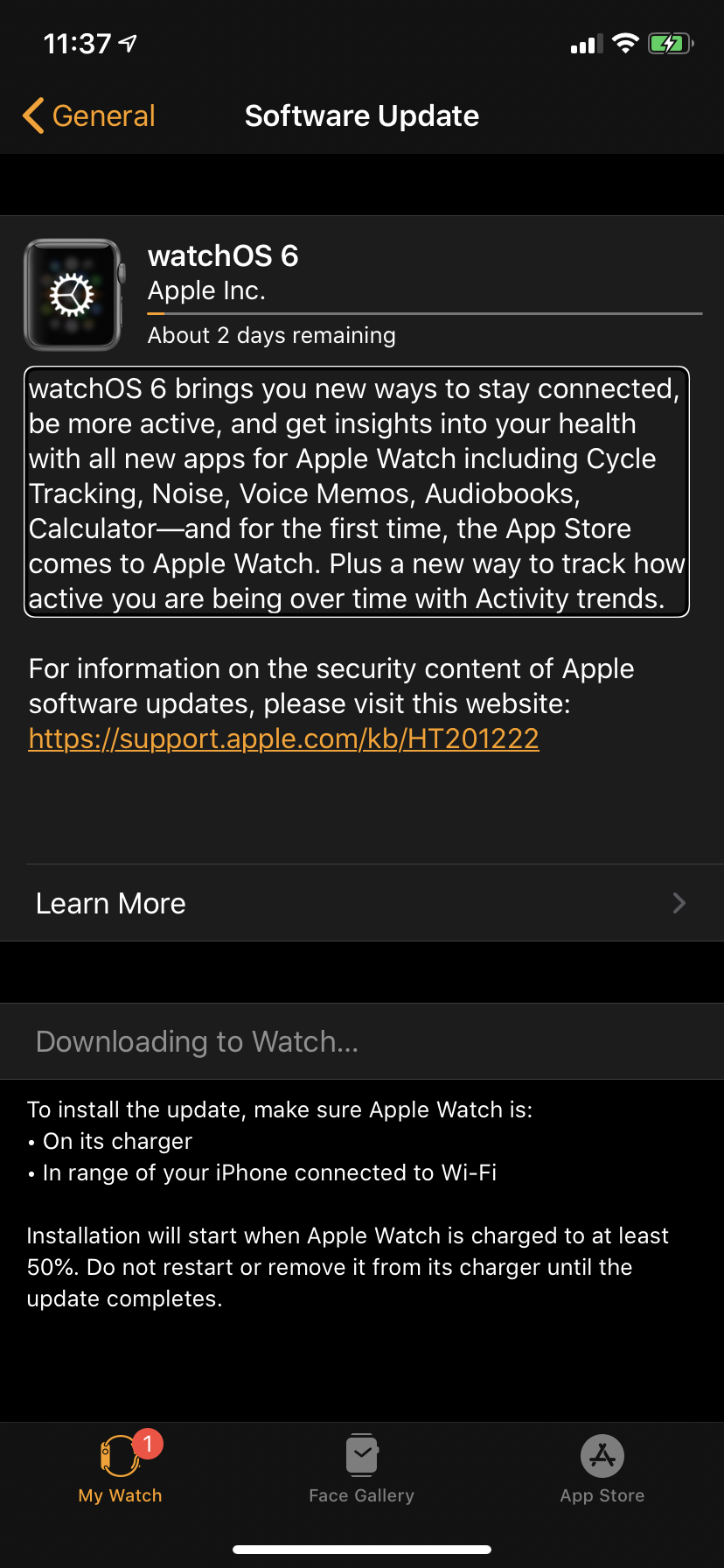 screen shot showing text that says the update will begin when the watch is plugged in and at least 50 percent charged. A progress bar shown at the top counts the progress of the update, in this example 10 percent