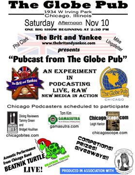 Poster flier of event at The Globe Pub in Chicago