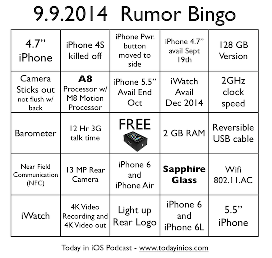 9.9.2014 Apple Event Rumor Bingo