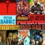 Artwork for Week 91: (Contagion (2011), Peter Rabbit (2018), As Above, So Below (2014), Predator (1987), Iron Man 3 (2013), Avengers: Infinity War (2018))