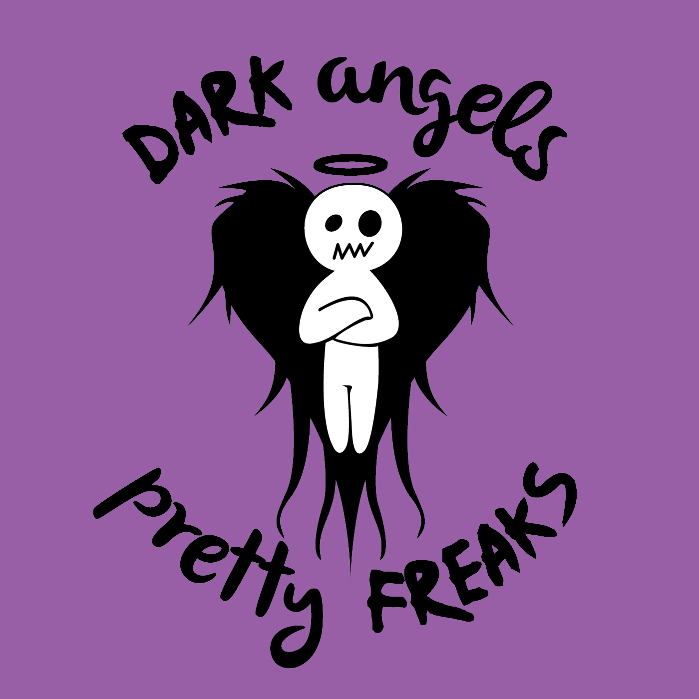 Artwork for DAPF #74 Dark Angels & Pretty freaks #74. We are back to catch up on Neil's crazy time at Outside Lands Music festival, We talk Hipsters, Fanny packs, Acid washed Jeans, Long Hair, Roger and Neil come up with odd band names, Butt chugging with an Ovipos