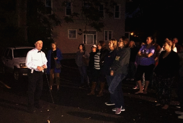 Ron Roberts leading a Ghost Walk of Fairport