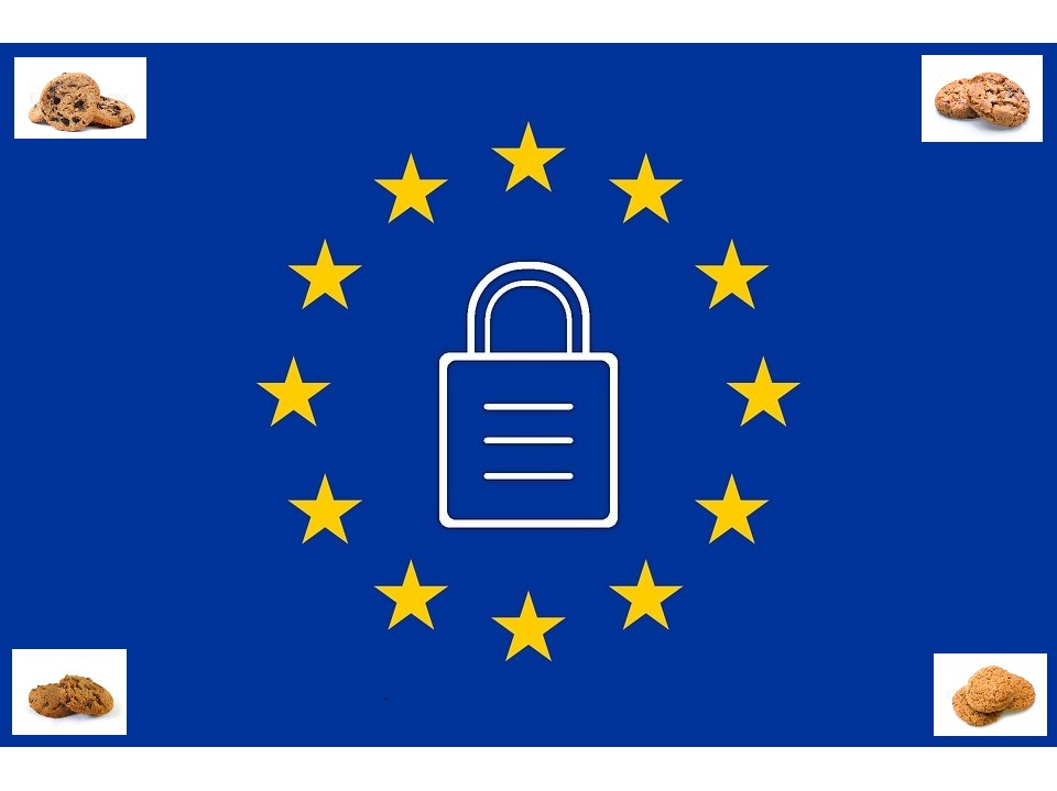 EU flag with lock and cookies