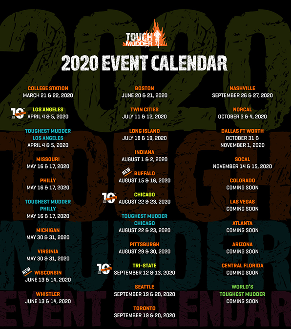 Tough Mudder 2020 Calendar
