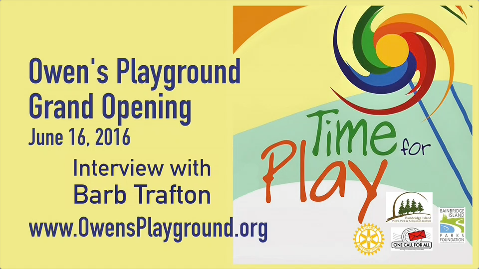 Artwork for Owen's Playground grand opening - Meet Barb Trafton of the BI Parks Foundation  (VID-005)