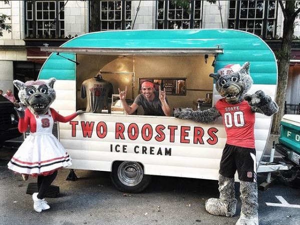 Jared Plummer of Two Roosters with Mr and Mrs Wuf