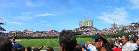 Wide angle panoramic view of Wrigley Field outfield and scoreboard