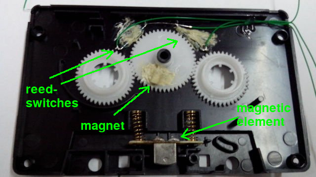 cassette-tape adapter with reed-switches, magnet and magnetic element