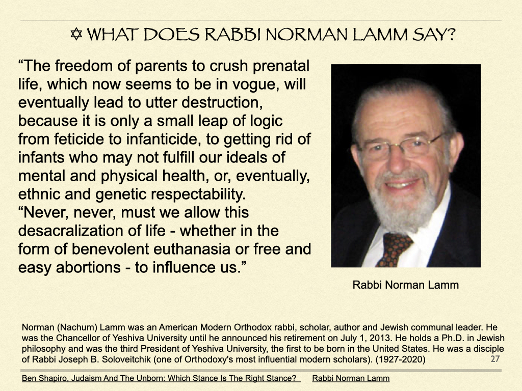 What Does Rabbi Norman Lamm Say?