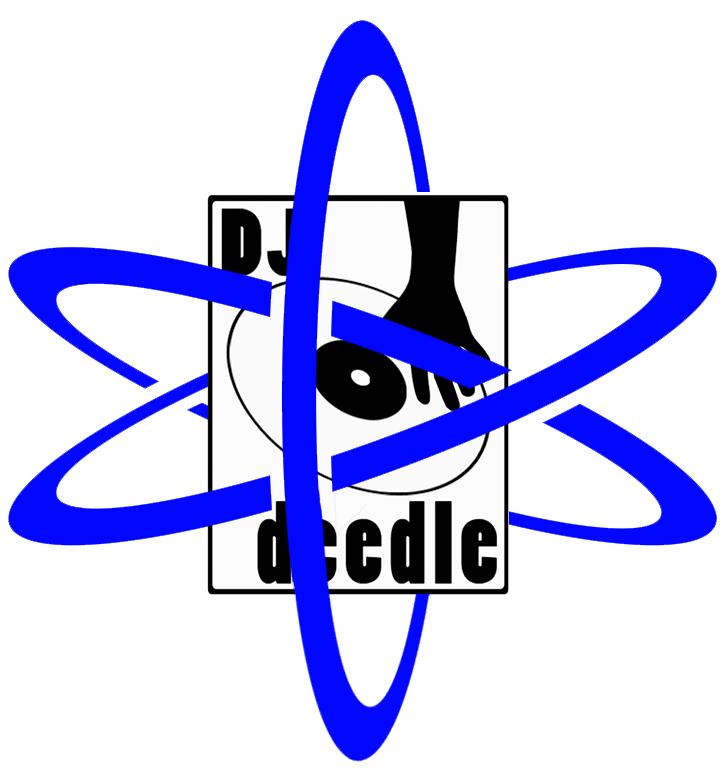 DJDeedle Logo Atomic Age Blue