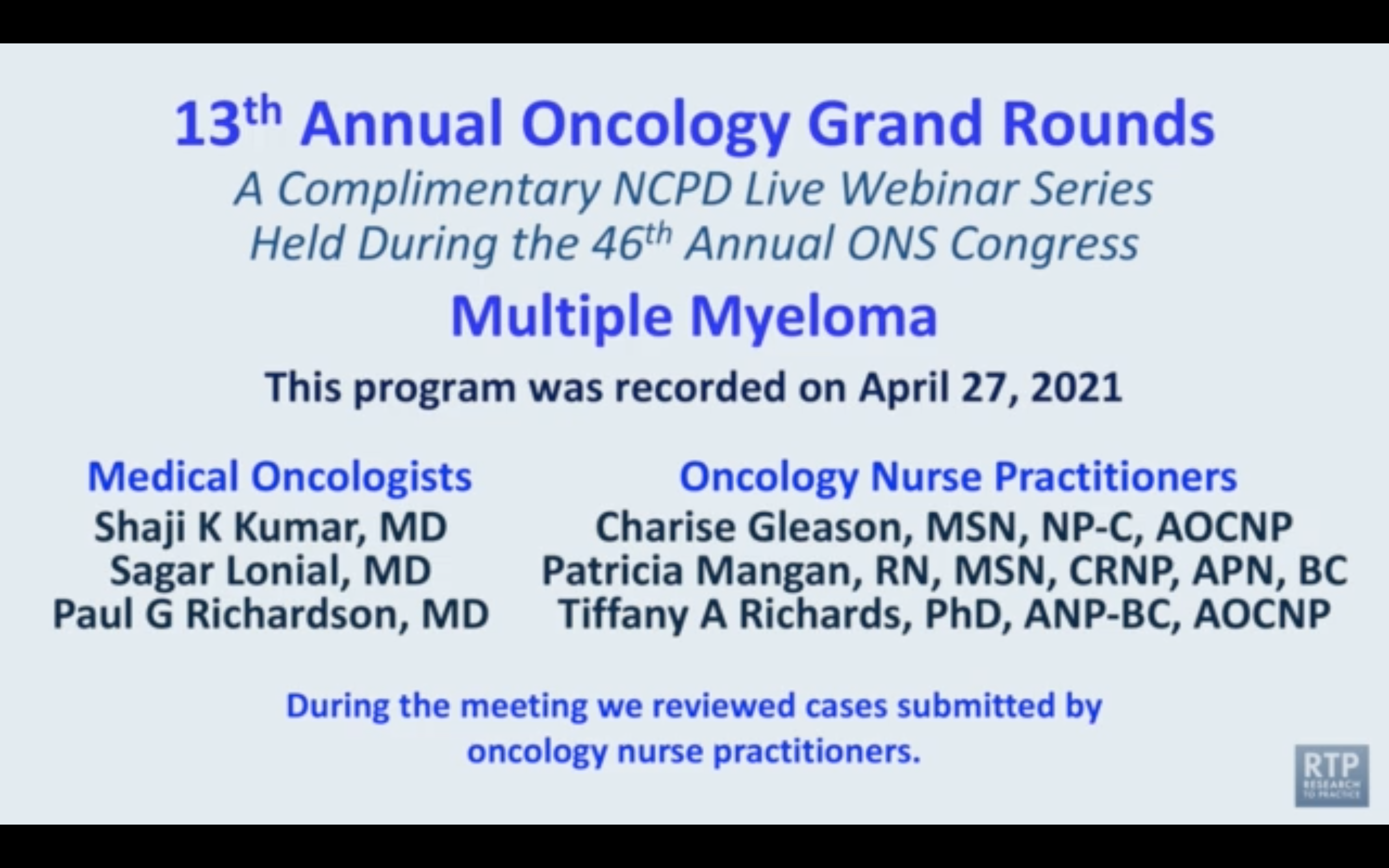 Artwork for Multiple Myeloma | Oncology Grand Rounds Series: Part 7 — Multiple Myeloma