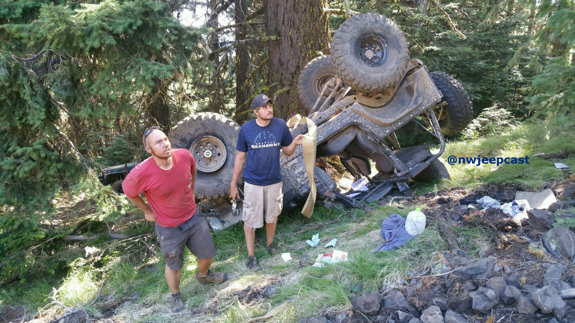 Nate's rollover on Crystal Ridge - Northwest Jeepcast - A Jeep Podcast