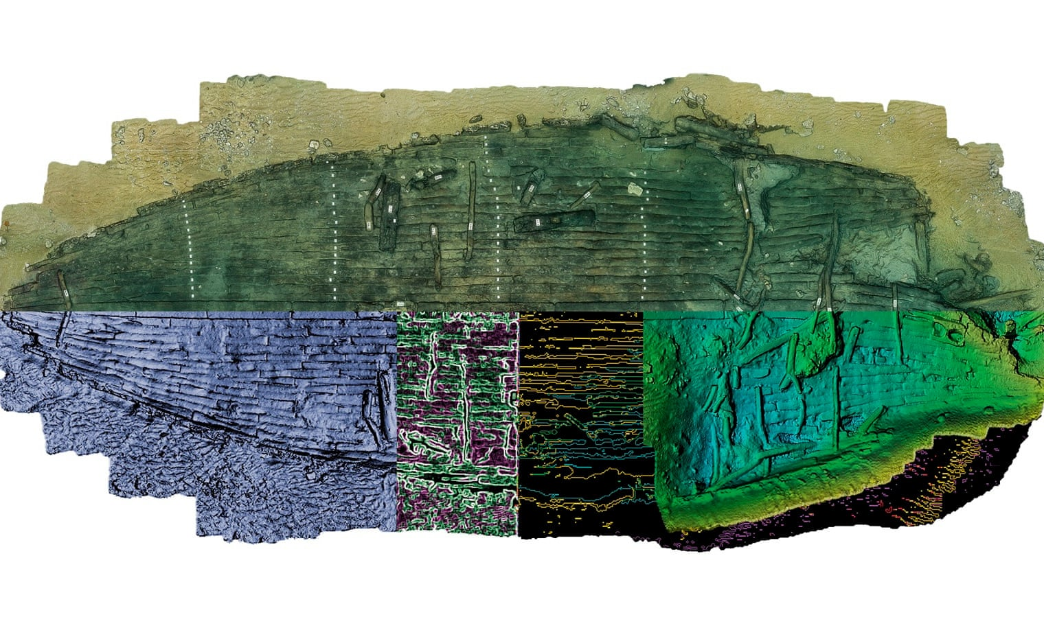 An artistic treatment of the discovered shipwreck. The upper half of the model illustrates the wreck as excavated. Below this, unexcavated areas are mirrored to produce a complete vessel outline. Photograph: Christoph Gerigk/Franck Goddio/Hilti Foundation