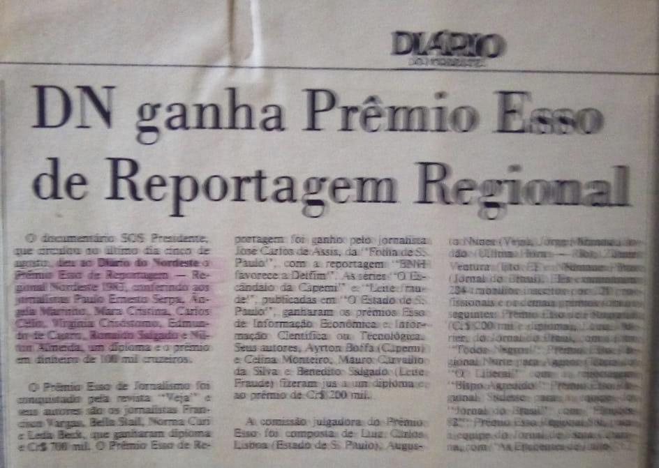 Notícia sobre a vitória do Prêmio Esso de 1983