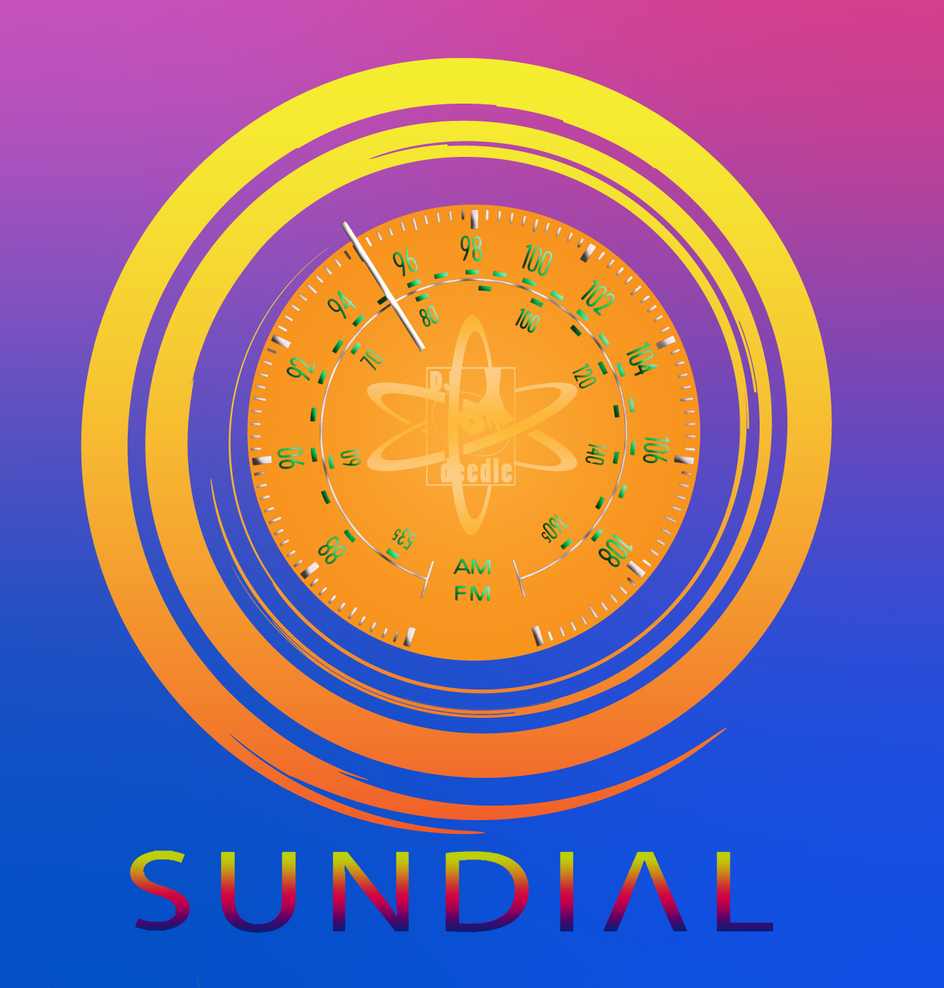 Stylized sun with radio dial inset