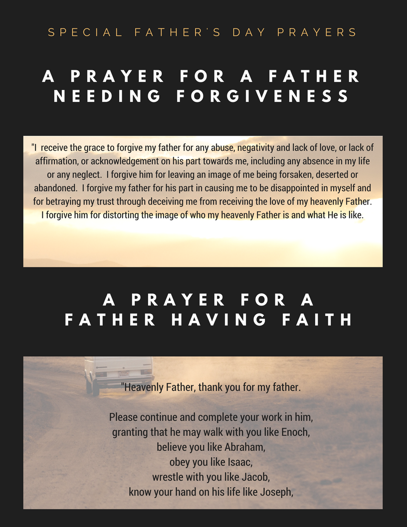Partial View of 2 Prayers/Toast/Readings for Father's Day