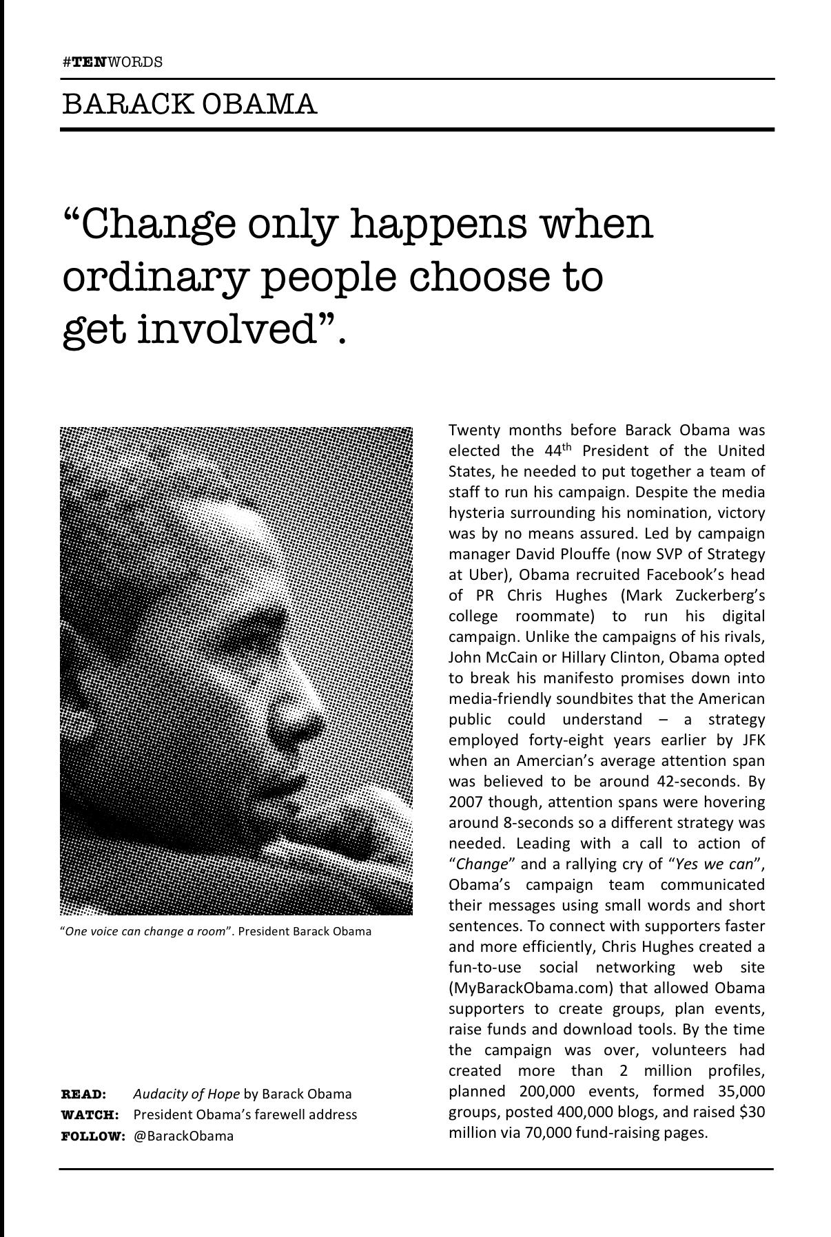 Jeremy Waite Ten Words Obama