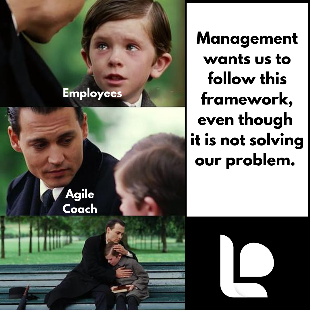Sad kid being comforted by the Agile coach