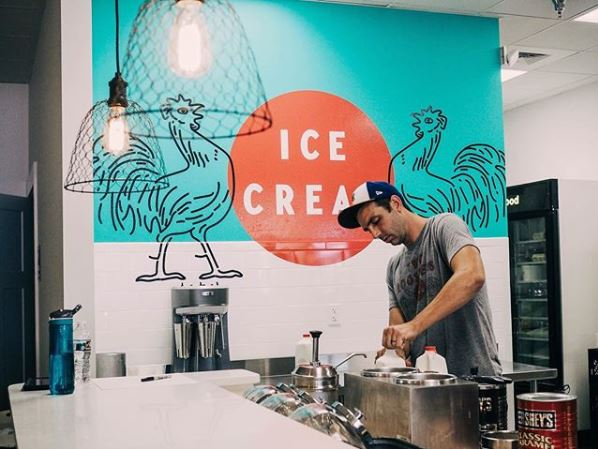 Jared Plummer Scooping Ice Cream at Two Roosters