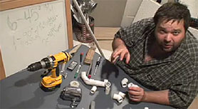 Shane Bugbee in a frame grab from his video on how to create a stabilizer for a camcorder