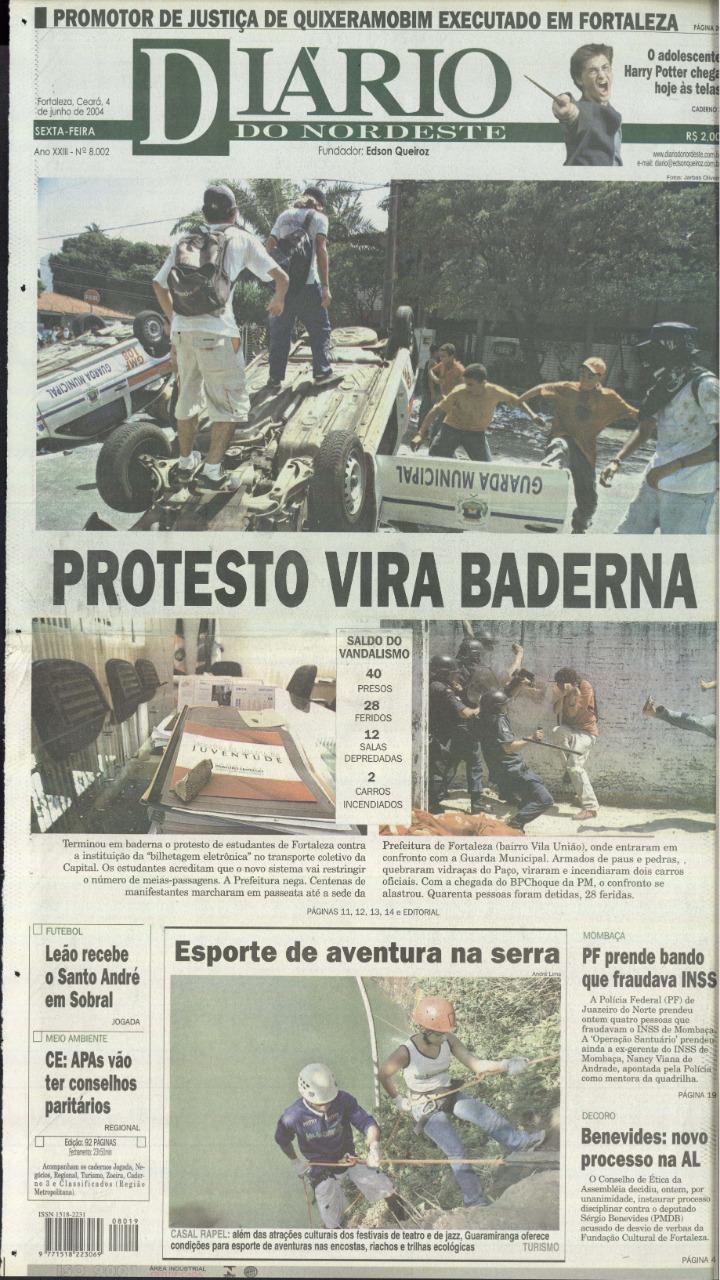 Capa do jornal Diário do Nordeste com as fotos do Jarbas