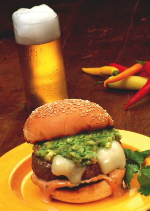 Recipe of the week: Beef Burger with Chile Butter Core, Dressed with Chipotle and Roasted Garlic Mayo and Guacamole