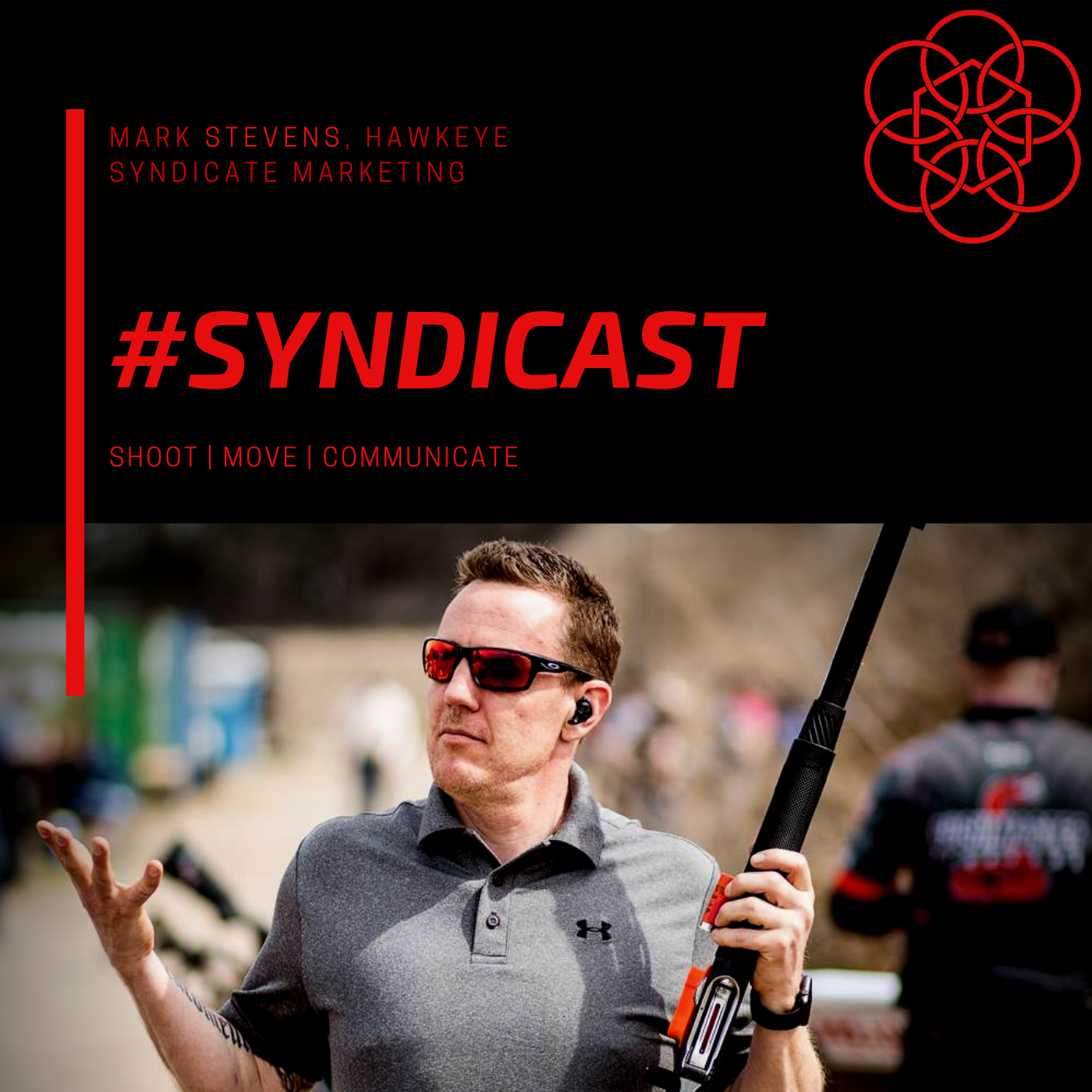 Hawkeye Syndicate a weekly podcast looking at branding and social media through the lens of 3 Gun, Americas fasting growing shooting sport. show art