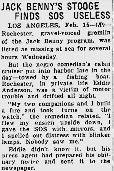 This Day in Jack Benny: Rochester Lost at Sea   Briefly
