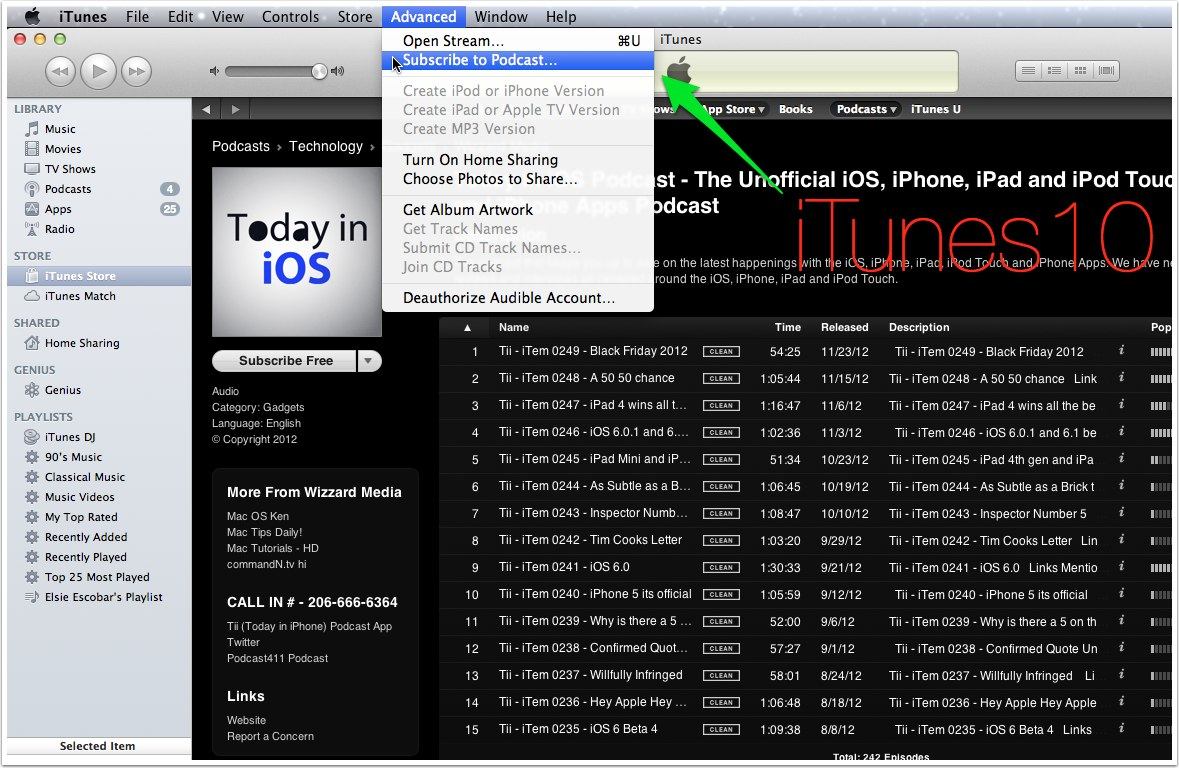old way to manually subscribe to a podcast on iTunes 10
