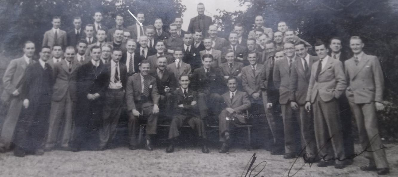 Albert Stevens with flight line crew and test pilots incl famous chief test pilot Alex Henshaw - at castle Bromwich spitfire factory