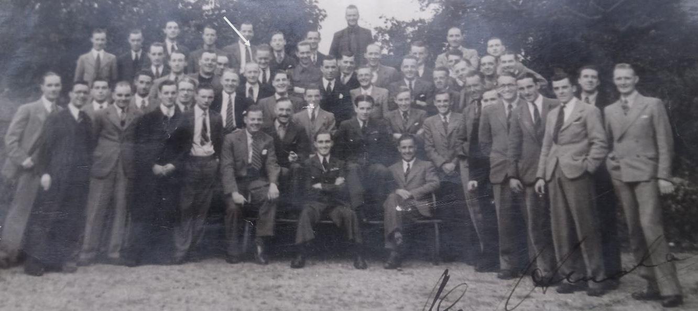 Albert Stevens with flight line crew and test pilots incl famous chief test pilot Alex Henshaw - at castle Bromwich spitfire factory