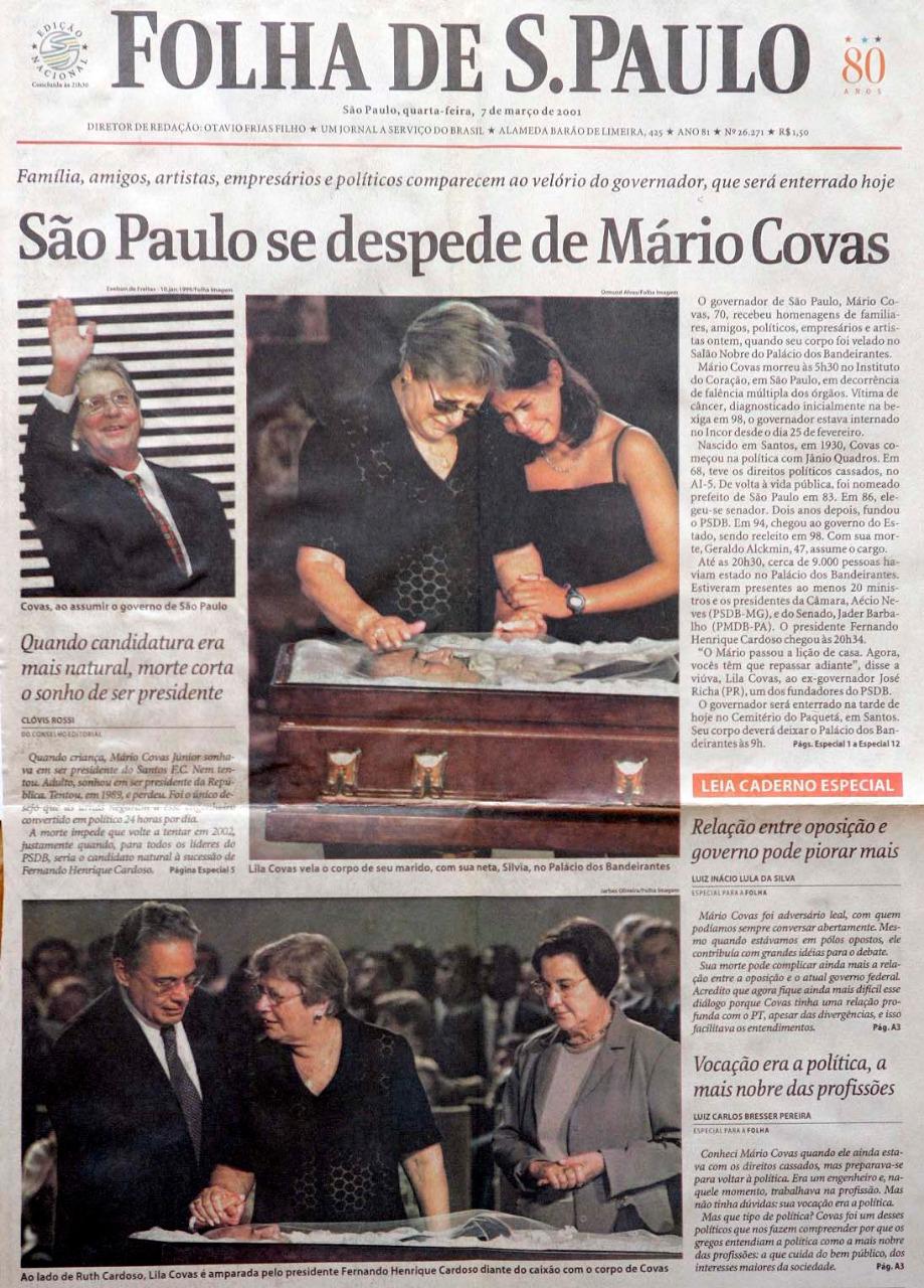 Capa da Folha de São Paulo com a foto do FHC no velório de Mário Covas feita pelo Jarbas Oliveira