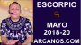 Artwork for ESCORPIO MAYO 2018-20-13 al 19 May 2018-Amor Solteros Parejas Dinero Trabajo-ARCANOS.COM