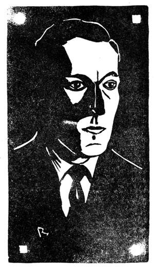 Linoleum cut of HPL by Duane Rimel