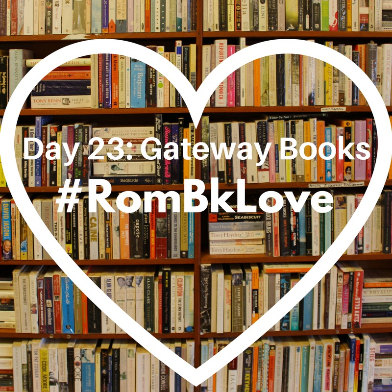 Day 23: Gateway Books #RomBkLove graphic: In the background are shelves of books. In the foreground is the white outline of a heart, with the text in white font inside it.