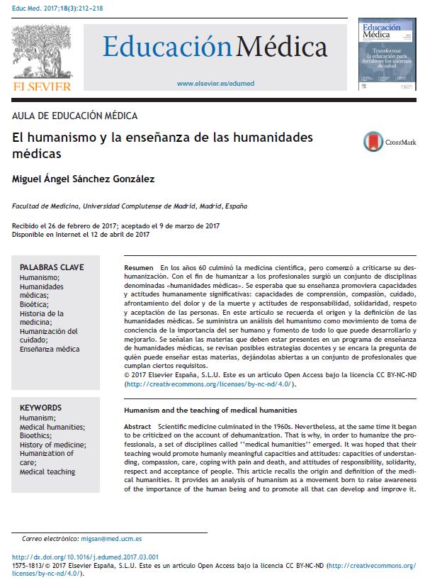 Este artículo explica con más detalle el origen y la importancia de las humanidades médicas