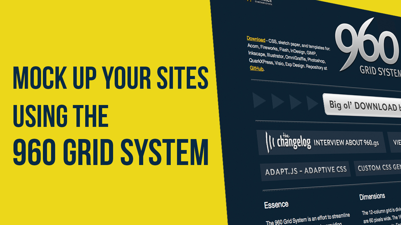 How to mock up yor website using the 960 grid system