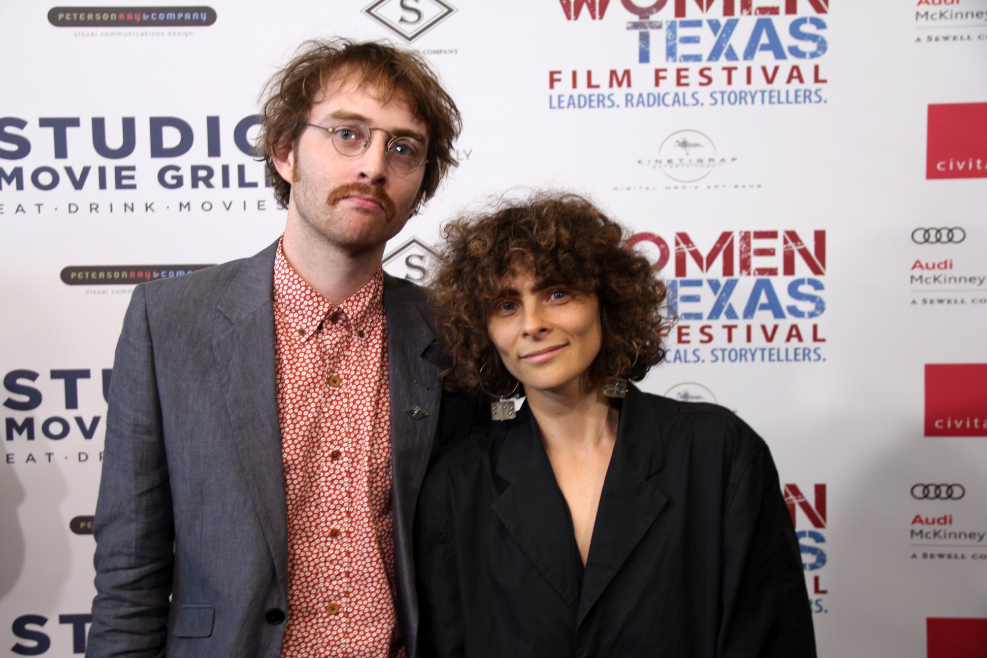 Noel David Taylor and Amanda Kramer on the red carpet ahead of the world premiere of 'Paris Window' at the 2018 Women Texas Film Festival
