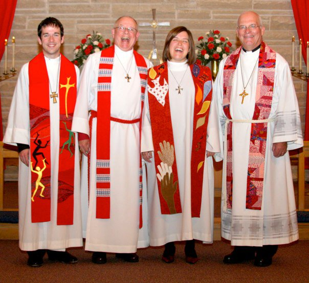 Pastor Krista's Ordination October 31, 2010. She's wearing the red stole her mom made for her that is mentioned in the sermon. From left to right- Pastor Jason Chesnut (friend from seminary), Pastor Frank Hanrahan (home pastor), Pastor Krista and Bishop Gary Wollersheim, former bishop of the Northern Illinois Synod.