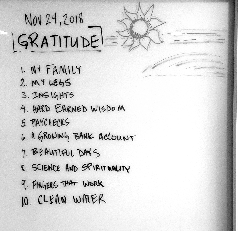 The Gratitude List - Whiteboard
