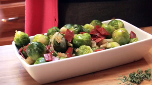 Brussels Sprouts with Onion and Veg Bacon