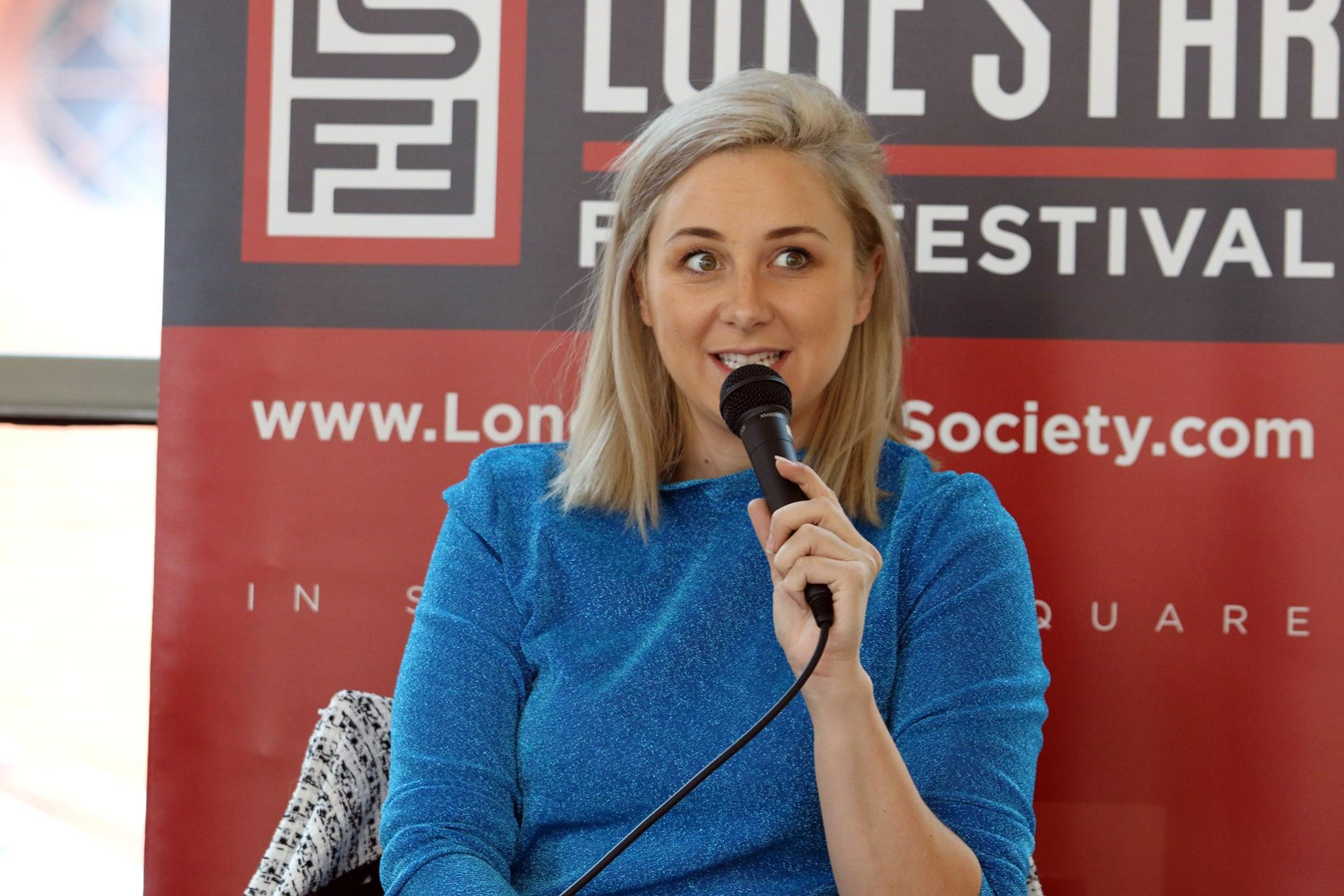 Victoria Fratz, Producer of Electric Love, speaking at a panel at the 2018 Lone STar Film Festival