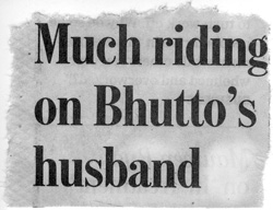 Scan of Chicago Tribune headline that reads Much Riding on Bhutto's Husband