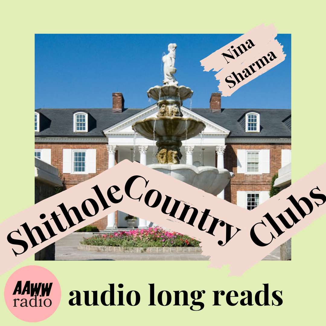 """Shithole Country Clubs Promo Image: Photo of Trump Golf Course with """"Shithole Country Clubs by Nina Sharma"""" written across the front"""