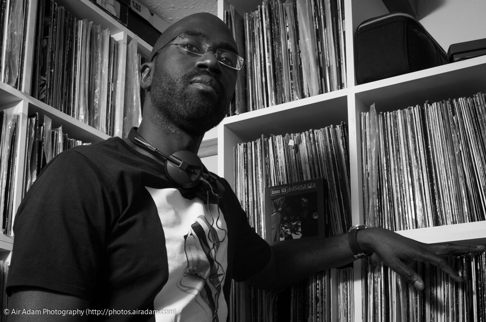 Air Adam in the record room, with a bunch of twelves
