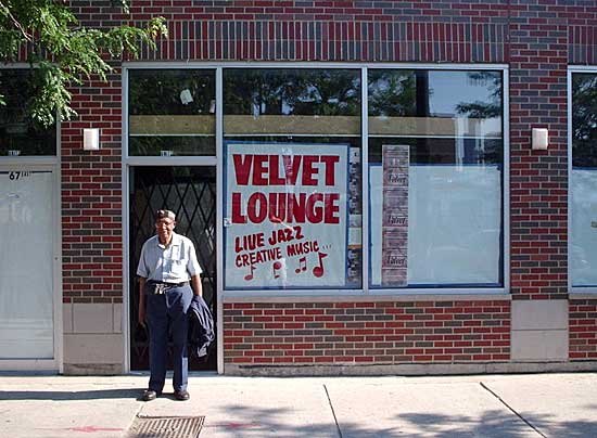 Photo of Fred Anderson standing outside the new Velvet Lounge