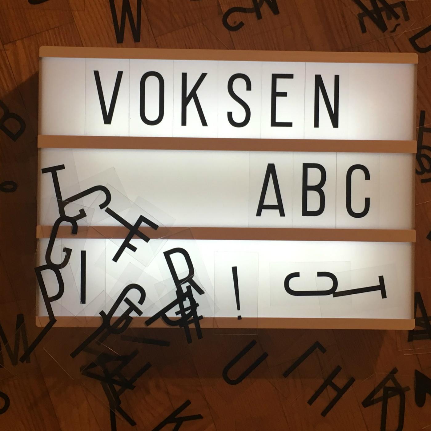 Voksen ABC podcast show art
