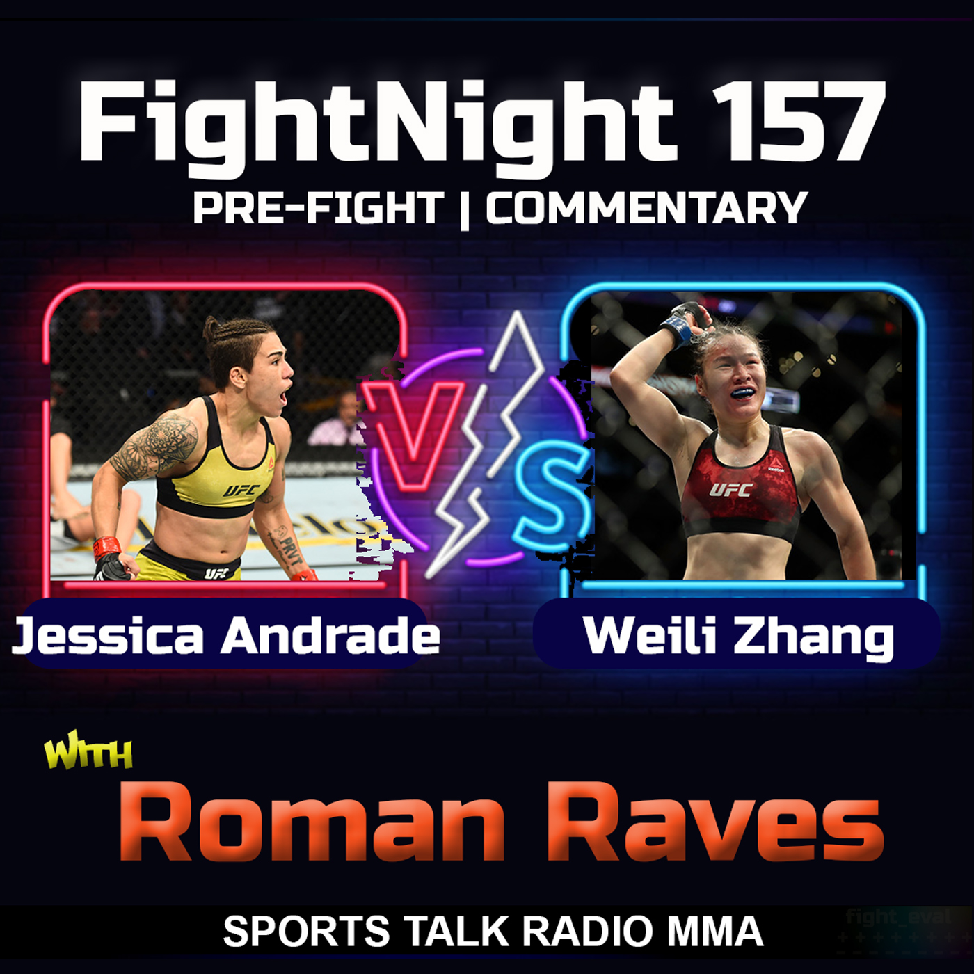 Artwork for Jessica Andrade vs Zhang Weili FightNight 157 Sports Talk Radio MMA