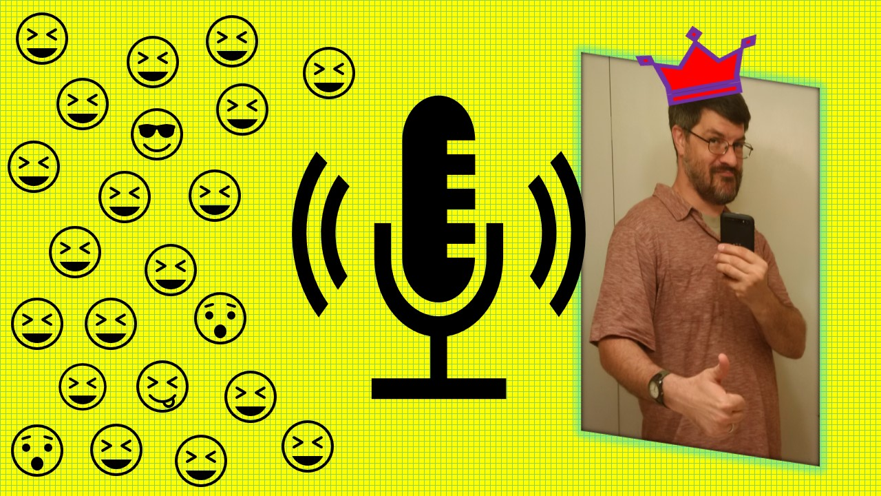 The Crazy Comedy Humor and Satire Podcast_Daniel D photo with microphone icon and laughing smiley faces